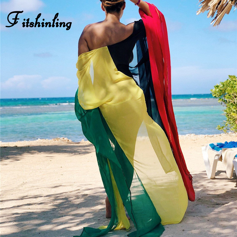 Fitshinling Multicolor block patchwork chiffon beach cover-up swimwear summer split sexy bikini outerwear boho kimono cardigan
