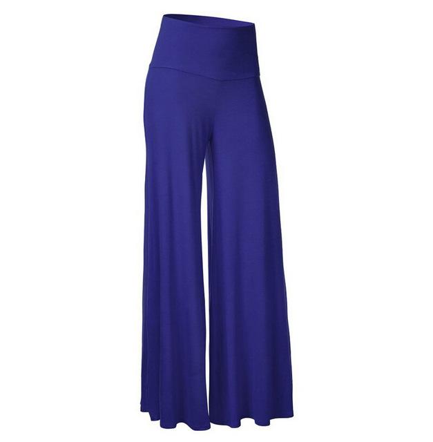 2016 new arrival moda sólidos cintura alta soltas calças de flare elástico na Cintura Ampla Perna Longa Calças Pantalones Mujer Venda Quente K9