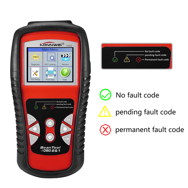 Diagnostic Tool KW830 OBD2 OBDII EOBD Automotive Scanner Car Engine Fault Code Reader Date Tester Scan Tools 2.8 LCD Screen code readers scan tools ancel ad510 obdii obd2 scanner automotivo escaner can engine analyzer car code reader diagnostic tool