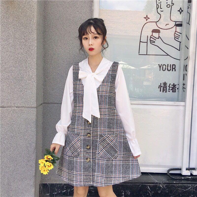 Autumn New Japan Sweet Chiffon Shirts Plaid Dress Sets Women Retro V-neck Long Sleeveless Strap Skirt Suits Sweet Two-piece Sets