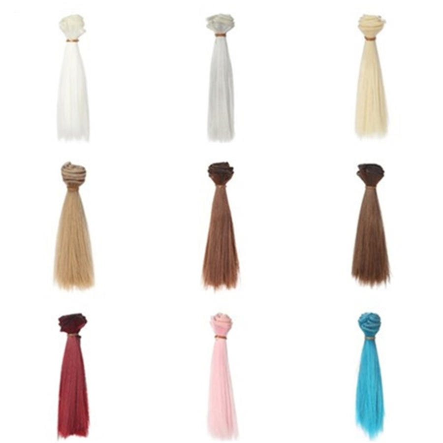 1pcs 15*100CM High Temperature Fiber Straight Doll Hair For Russian Handmade Dolls & BJD Dolls DIY Doll Wig Accessories