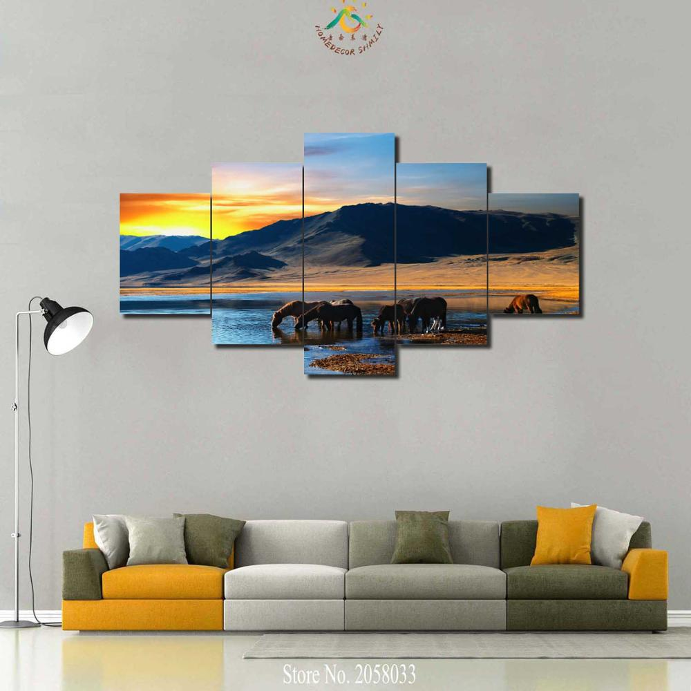 3-4-5 Pieces Horses Drinking Water Colorful Sunset Pictures Modern Home Decor Wall Art Canvas HD Painted Print Modern Painting