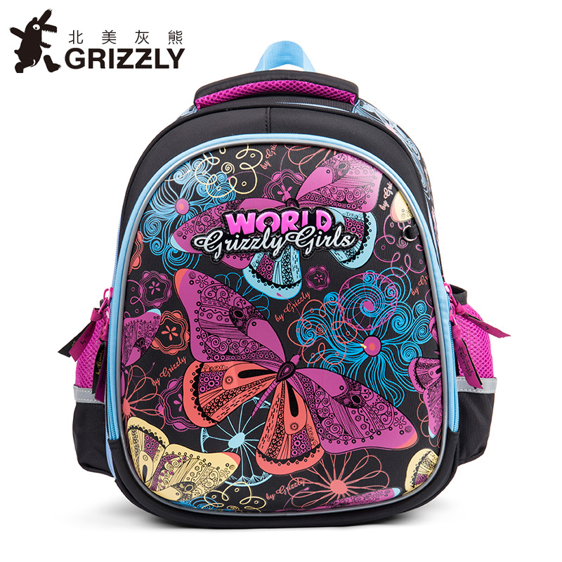 GRIZZLY Kids School Bags Nylon Orthopedic Waterproof Backpacks Lovely Animal Prints for Primary Book bags for