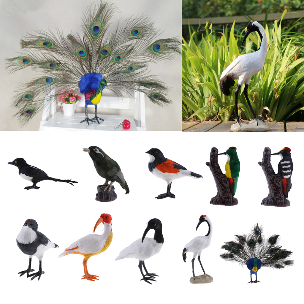 Artificial Magpie Realistic Birds for Home Garden Yard Lawn Tree Decoration