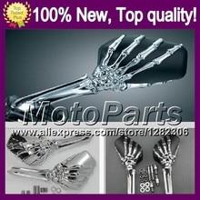 Ghost Hand Skull Mirrors For HONDA GL1800 Goldwing 01-10 GL 1800 GL-1800 01 02 03 04 05 06 07 08 09 10 Skeleton Rearview Mirror