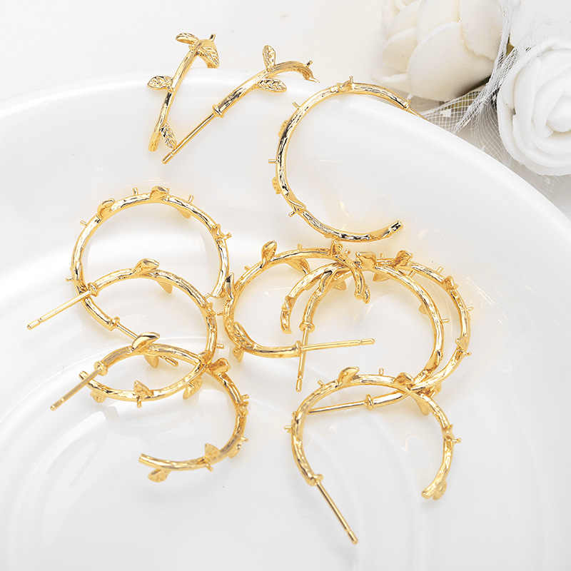 (91) 4PCS 21x24MM 24K Gold Color Plated Brass Tree Branch with Half Pins Stud Earrings High Quality DIY Jewelry Making Findings