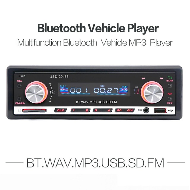Car Stereo Digital Car Radio Autoradio 12V Bluetooth 1 Din FM Aux Input Receiver In-dash SD USB MP3 WMA APP Car Radio Player