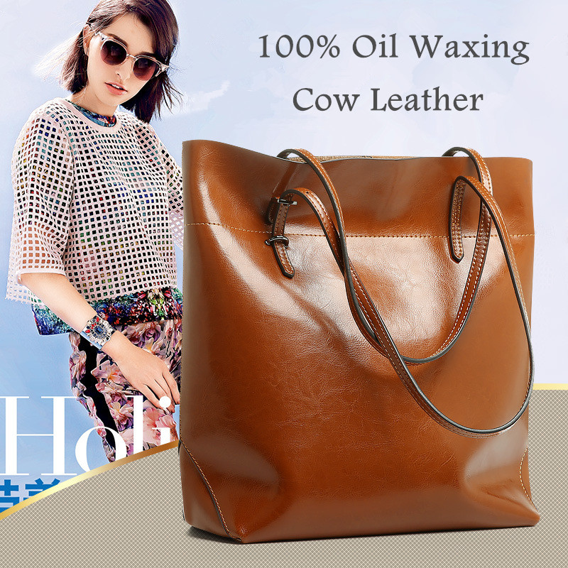 ФОТО Generous Fashion Bag Big Bag Women Handbags Genuine Leather Oil Wax Cowhide Handbags Lady Real Leather shoulder Messenger Bags
