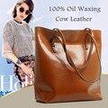 Generous Fashion Bag Big Bag Women Handbags Genuine Leather Oil Wax Cowhide Handbags Lady Real Leather shoulder Messenger Bags
