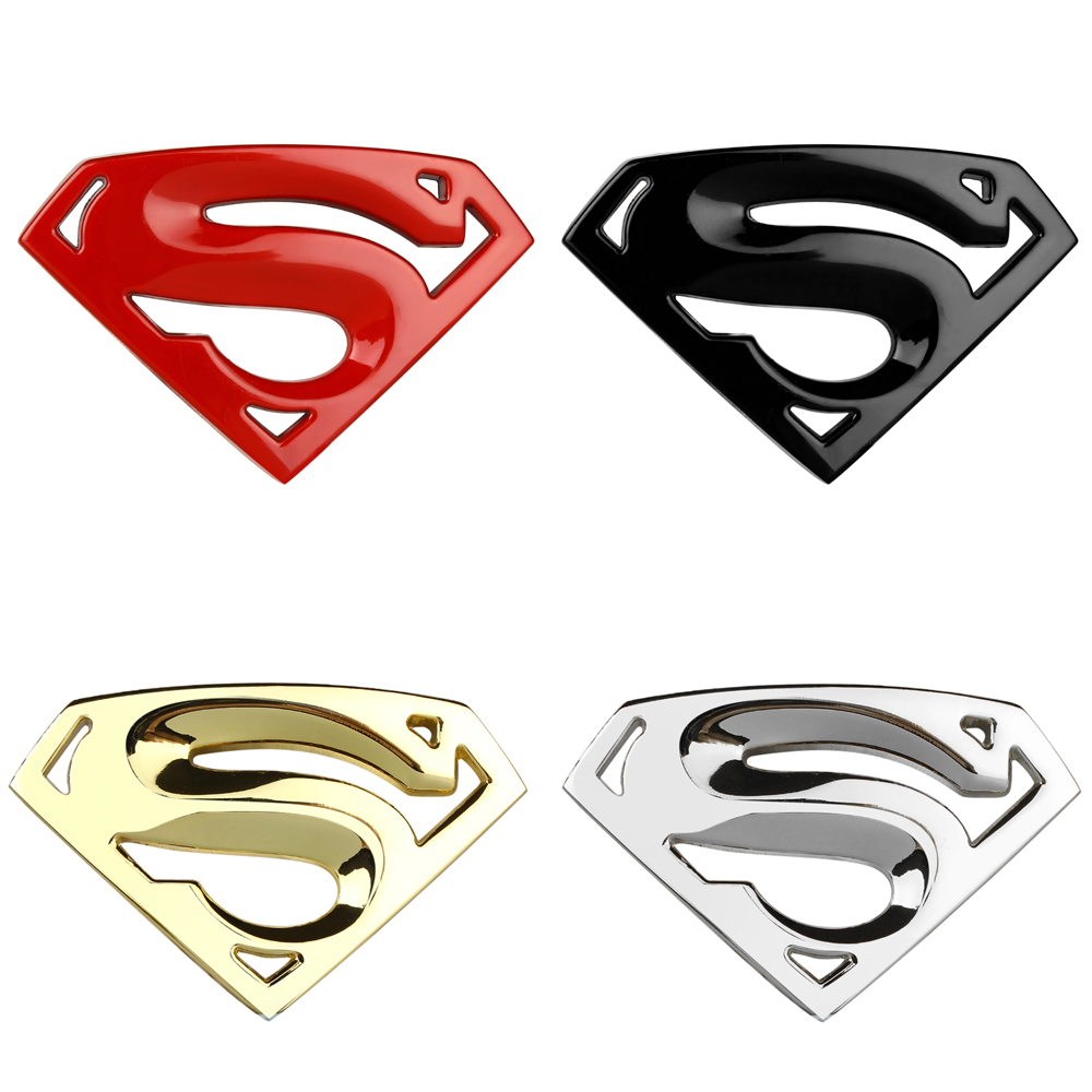 3D 3M chrome emblem Auto logo  Superman badge metal      Motorcycle accessories Car styling Funny car stickers dragon emperor kaiser loong imperial chinese character script 3d metal diy car auto motorcycle badge emblem sticker car styling
