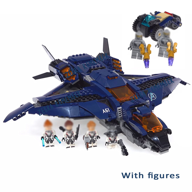 07122 Avengers 4 Endgame Ultimate Quinjet Set Building Bricks Blocks Captain Marvel Figures Compatible Legoings 76126 Kids Toys