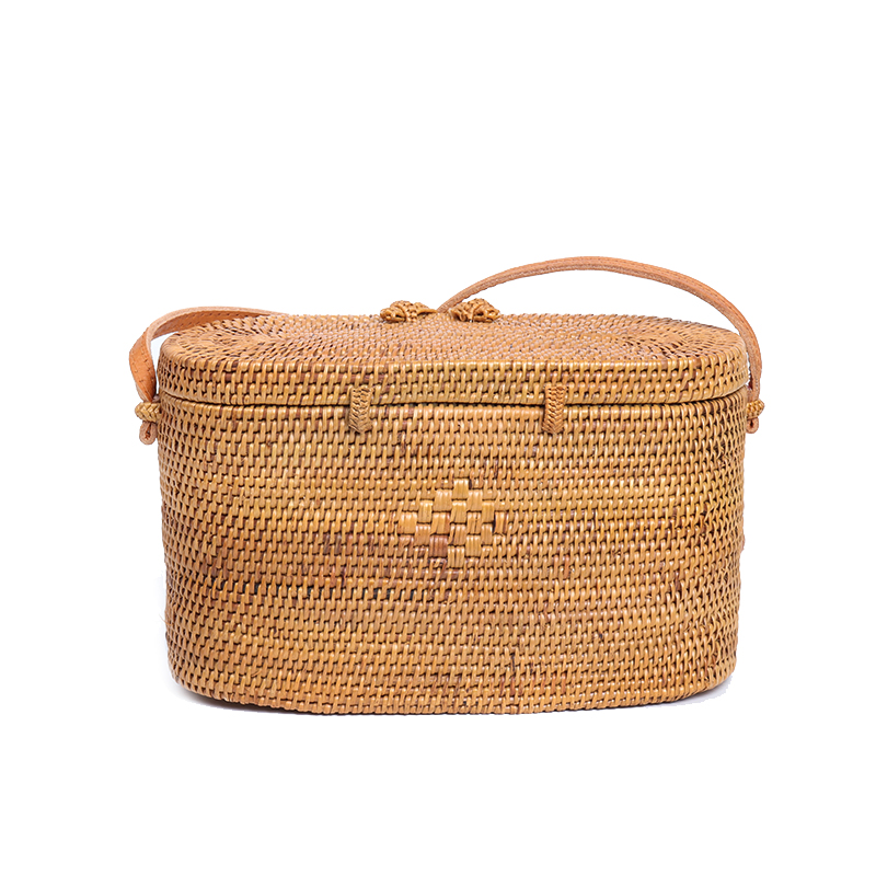 Bali Island Rattan Bag Small Handmade Straw Bag Popular Beach Bag For Women Crossbody Ata Handbag Women's Bags Top-handle Bags