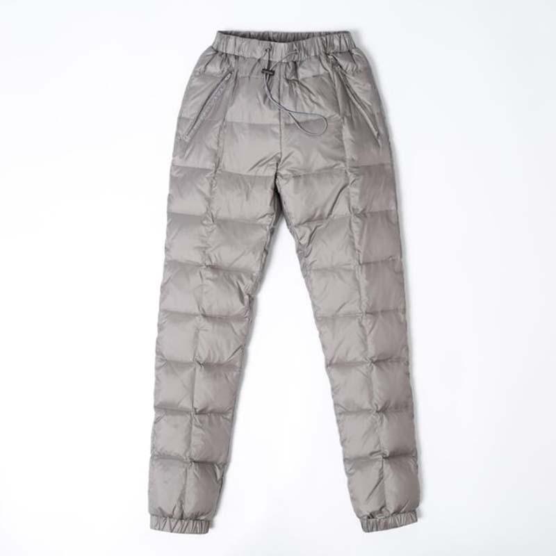 Kadın Giyim'ten Pantalonlar ve Kapriler'de Kadın Kalın Aşağı Pantolon Kış Yüksek Belli Elastik Beyaz Ördek Aşağı Pantolon Kadın Rahat Artı Boyutu Sıcak Dış Giyim Aşağı pantol'da  Grup 1
