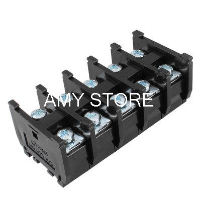 Dual Row 5 Position Covered Screw Terminal Block Strip Black 600V 60A terminal block strip terminalstripped screw - title=