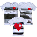 2017 summer fashion family look moeder dochter white stripe father son girl and mother clothing t shirt mommy and me