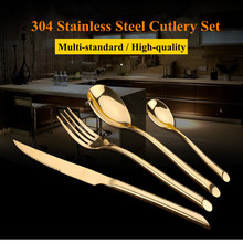 KTL 24 Pcs/Set Black Gold Dinnerware Flatware Set 304 Stainless Steel Dinner 6 Knife 6 Fork and 6 Spoon 6 Teaspoon Cutlery Set