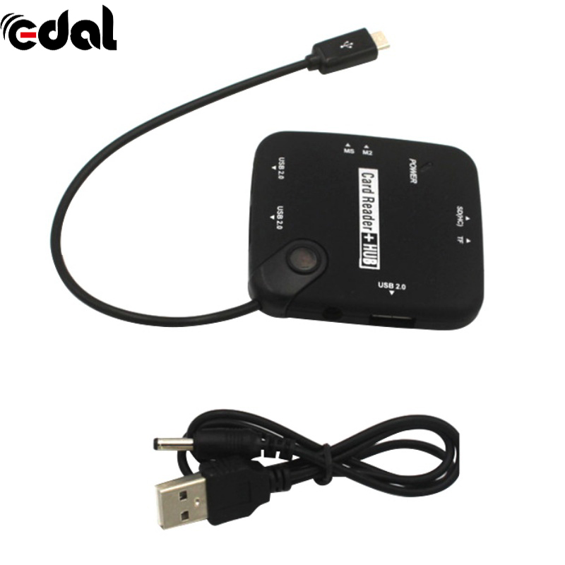 Universal 3 Port OTG USB 2.0 Powered Adapter Hub Memory Stick Micro Card Reader Hub USB Adapter Computer Cable Connectors