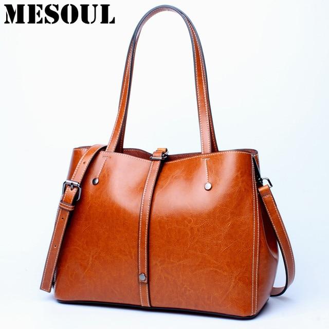 097f2a2b28 Women Handbag Tote Bags Female Genuine Leather Shoulder Bags Vintage Famous  Brand Crossbody bag Large Capacity Office Hand Bag