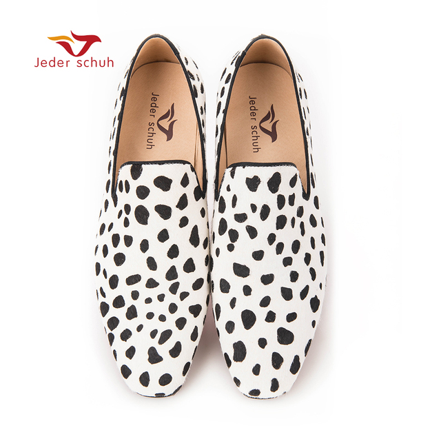 Jeder Schuh new handmade men fashion party and wedding loafers Zebra pattern horse hair men dress shoes Plus size male flats