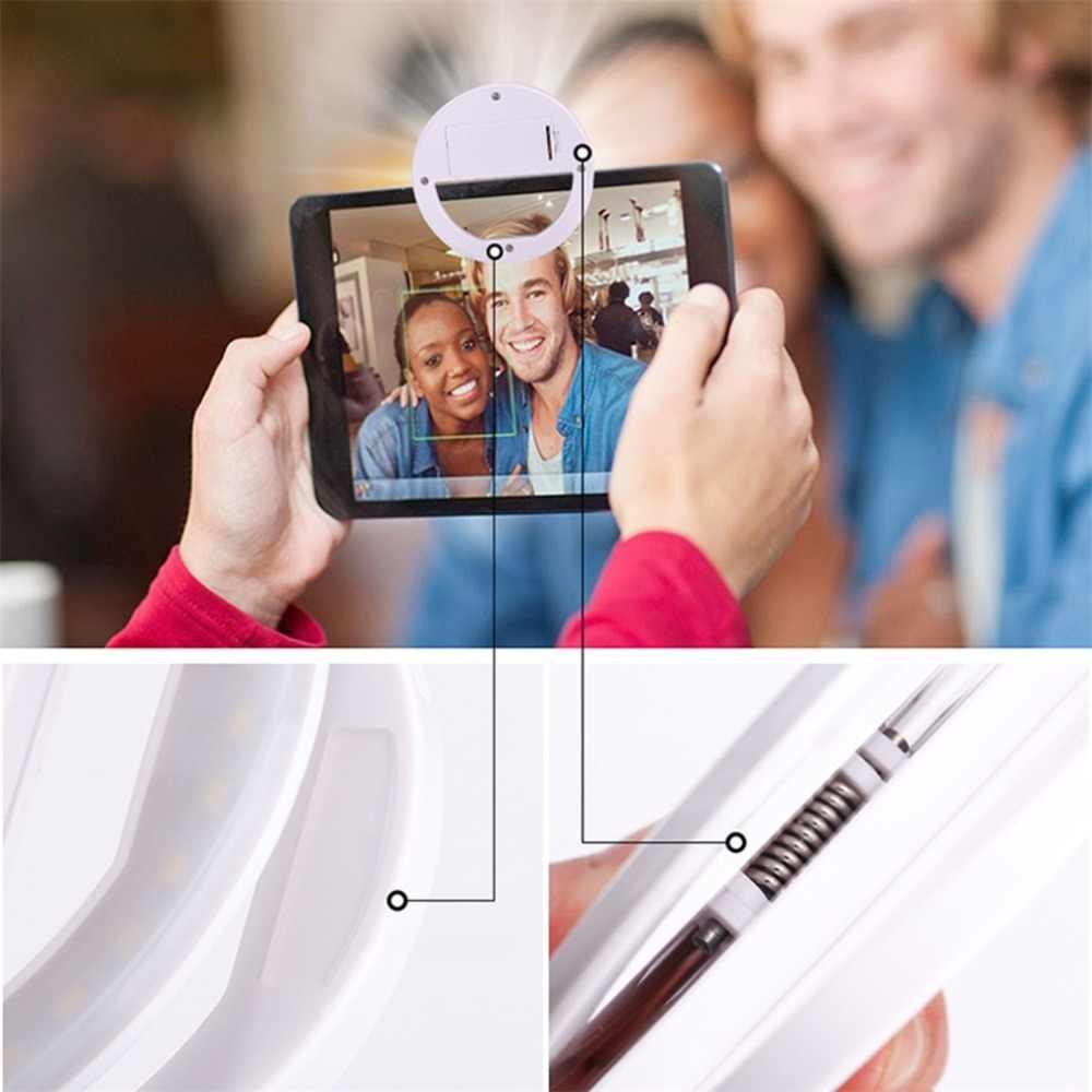 LED Selfie Cincin Lampu Kamera Portabel Universal Ponsel Lensa untuk iPhone X Nokia Bulat Lampu Flash Kamera Fotografi Meningkatkan