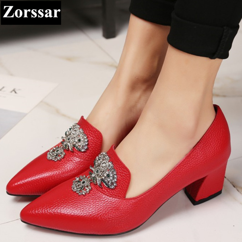 ФОТО BIG SIZE 33-43 summer Womans shoes high heels pumps women Work shoes 2017 NEW Fashion Genuine leather womens Pointed Toe shoes