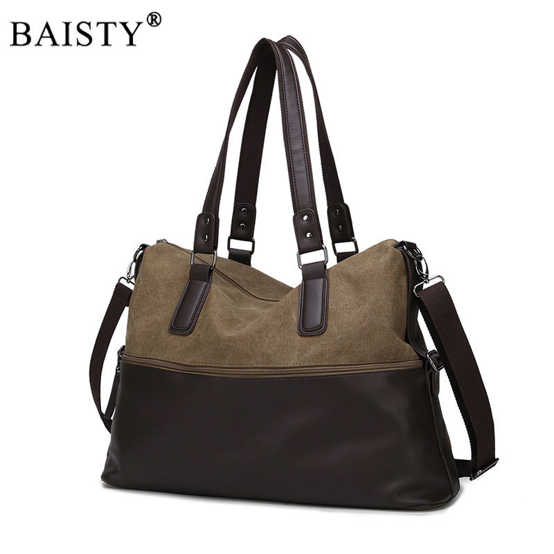 Men PU Leather and Canvas Handbags High Quality Men Casual Totes Big Capacity Male Handbags Travel Bags Business OL Leisure Bags