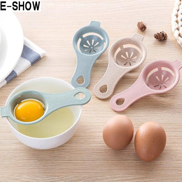 Mini Yema de Huevo Blanco Separador Con Titular Ecológico Bpa Paja De Trigo Gadgets de Cocina Accesorios de Cocina Huevo Dividir