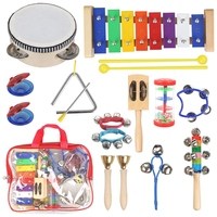 Musical Instruments For Toddler – 11 Types 14Pcs Wooden Xylophone Tambourine Set For Kids Preschool Educational, Early Learni