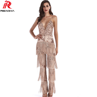 Fashion Sexy Women Tassel Sequins Jumpsuit 2018 V neck Backless Bodysuit Luxury Club Body Femme Party Long Playsuit Overalls XL