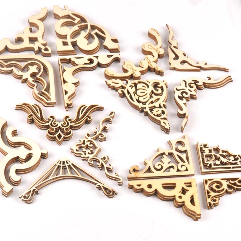 4pcs Mixed Book Corner Wooden Ornament For Home Decoration Crafts Scrapbooking Crafts Wood Album Corners Embellishment M2150