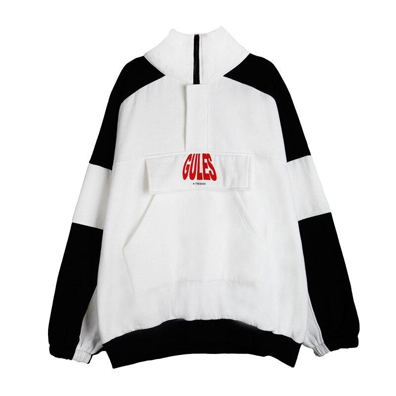 2018 Autumn And Winter Couple Zipper Loose Plus Velvet Black And White Stitching Harajuku High Collar Long Sleeve Sweatshirts