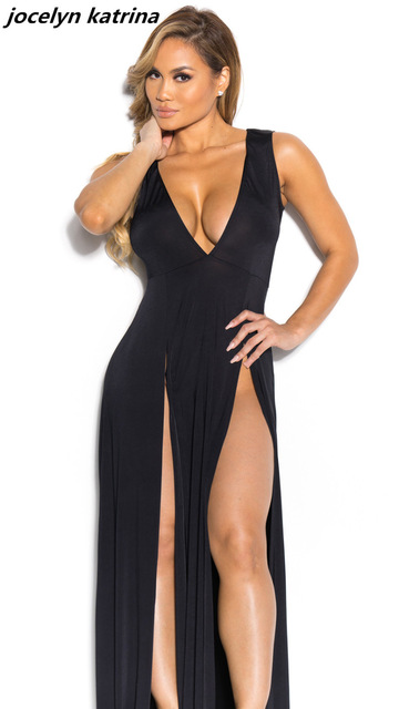 jocelyn katrina brand Women Sexy Dress Deep V Neck Long ...
