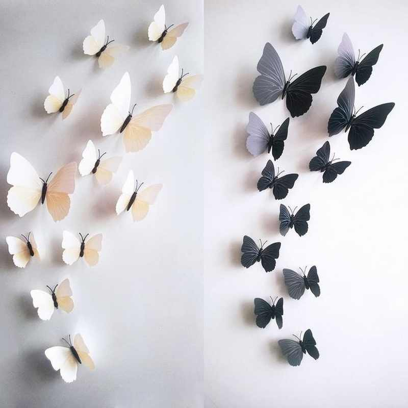 Urijk 12Pcs/Set PVC 3D Butterfly Shape Wall Stickers For Home Decoration Multi Color DIY TV Background Kids Bedroom Wall Decal