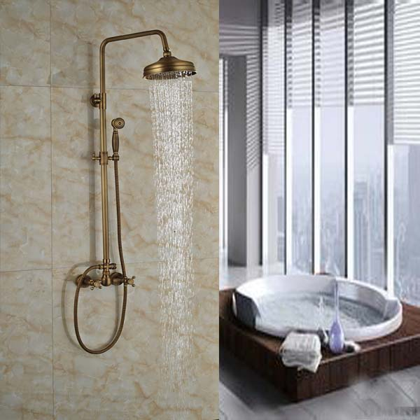 New Style Antique Brass Dual Handle Rainfall Shower Faucet Set 8  Wall Mount Adjust Height Bathroom Shower Mixer Taps bathroom single handle bath shower mixer faucet wall mount 8 rainfall exposed shower mixer height adjustable antique brass