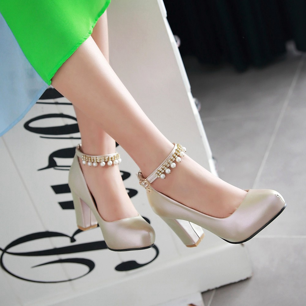 2017 Chunky High Heeled Pink Bridal Wedding Shoes Beaded White Female Buckle Elegant Pumps Silver Gold35