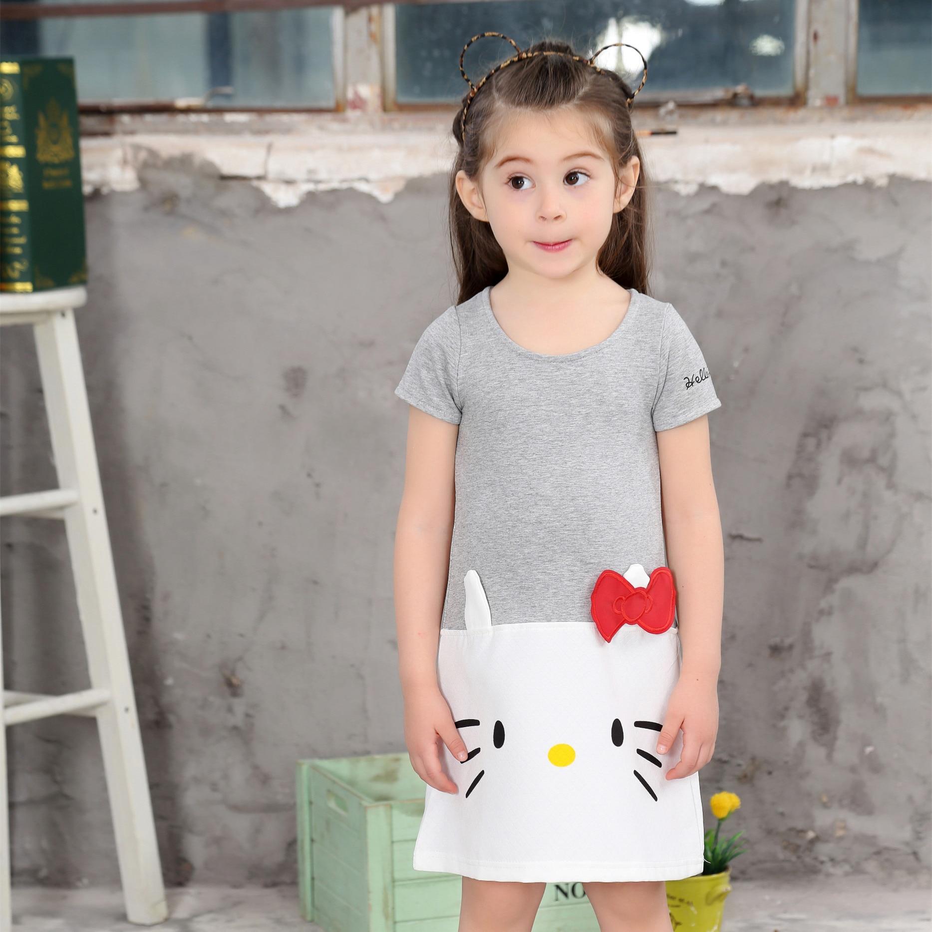 2019 Summer Cute Girls Dress Sweet Cat Animal Print Cartoon Girl Dress Cotton Grey Color Kids Children Cute Short Sleeve Dresses in Dresses from Mother Kids