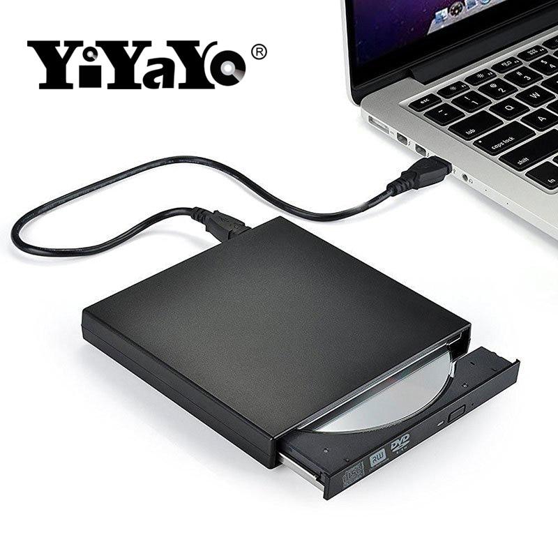 YiYaYo External DVD Optical Drive USB 2.0 DVD-ROM Player CD/DVD-RW Burner Reader Writer Recorder Portatil for Windows PC yiyayo external dvd rom optical drive usb 2 0 cd dvd rom cd rw player burner slim portable reader recorder portatil for laptop