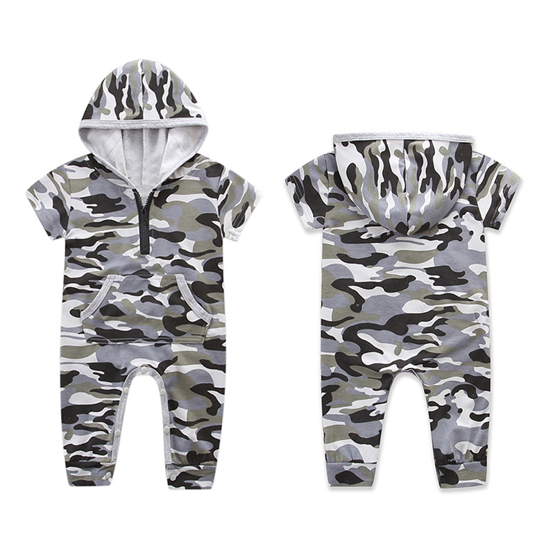0-24M Newborn Baby Boy Girls Romper Summer Short Sleeve Camouflage Infant Bebes Toddler Kids Jumpsuit Outfits Boys Clothes 4pcs set newborn baby clothes infant bebes short sleeve mini mama bodysuit romper headband gold heart striped leg warmer outfit