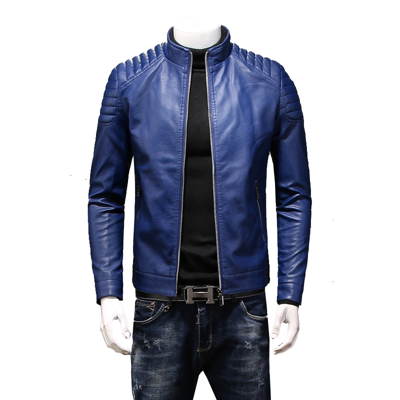 Marca La Collar azul Negro Primavera Hombres Cuero rojo Locomotora Color De Moda Chaqueta Slim Sólido Motocicleta Abrigo Los 4UqY6xFnP