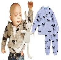 2016 New Spring Autumn Baby Boy Clothing Set Cartoon Mouse Cardigan Long Sleeved Shirt Pants Brand