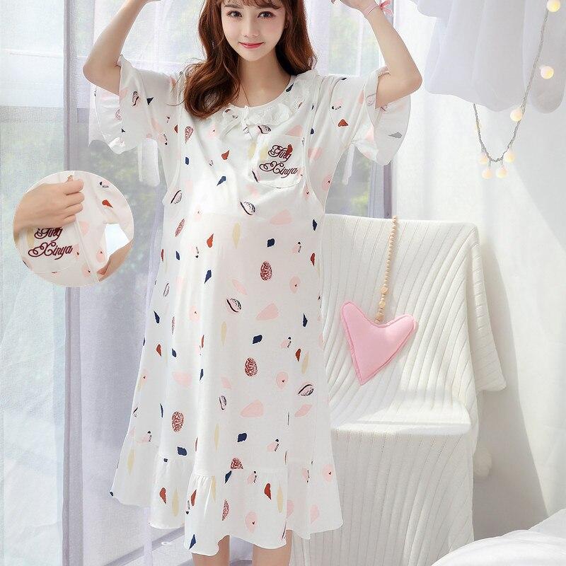 f0fbfac2a337e maternity breastfeeding nursing nightgowns room wear sleepwear nightie  mothers nightwear breast feeding pajamas pregnancy dress ~ Super Sale July  2019