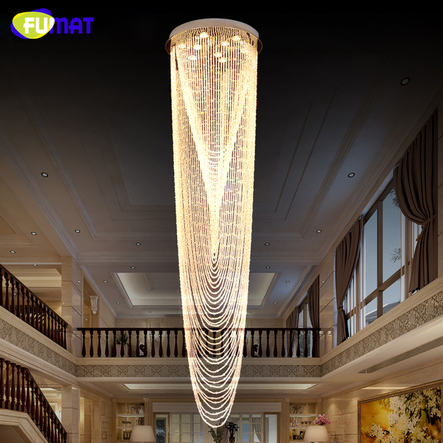 FUMAT Modern Chandelier led light Staircase K9 Crystal Chandelier led lamp for Villa chandeliers Christmas decor Luxury Lustre