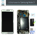 Lcd completo para samsung note 3 n900 n900a n900v n9005 n9002 display lcd touch screen moldura do quadro digitador de vidro pantalla