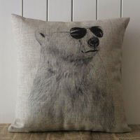 LINKWELL Brand Pillow Case Burlap Cushion Cover 18x18 Inch Cool Wild Animal White Polar Bear Black