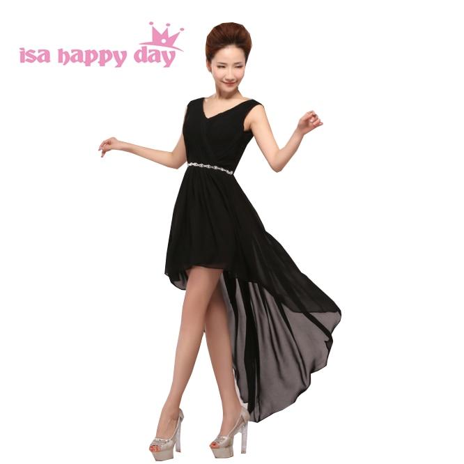 Vestidos De Festa 2019 New Arrival Formal Sexy Black Dresses Short In Front Long Back High Low Prom Dress Women Under 100 H3753