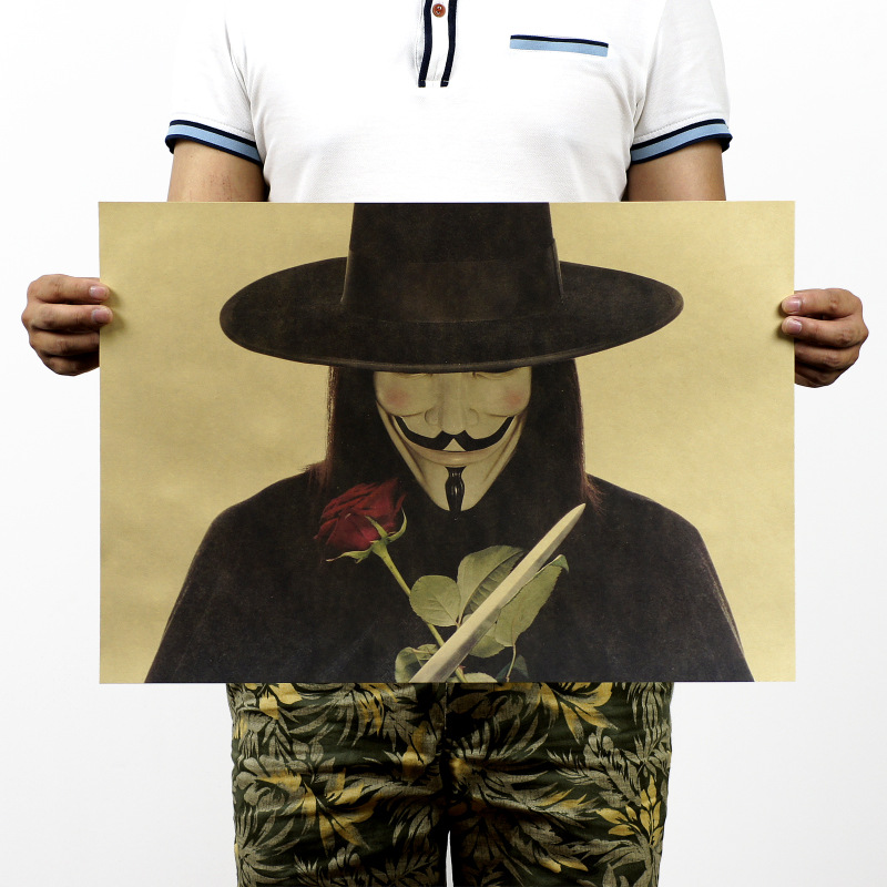 TOP COOL collection--vintage retro V for Vendetta Guy Fawkes poster print art -2015 HOME TOP Decor ART --Free shipping cost