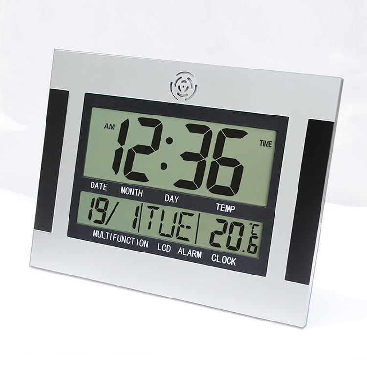 Large LCD Digital Alarm Clock With Temperature Snooze Calendar Wall Clock Table Watch Nixie Electronic Desk Bedside Big Number