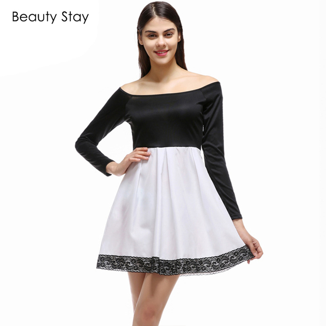 BeautyStay Black White Block Skater Dress Women Sexy Robe Slash Neck  Patchwork long Sleeve Elegant Prom Party Dating Dresses e367ab888