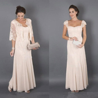 Mother of the Bride Dresses Formal Godmother Women Wear Evening Wedding Guests Dress Plus Elegant Champagne Colour With Jacket