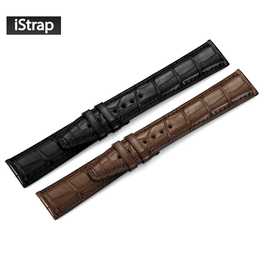 Istrap 20 мм 21 мм 22 мм чёрный; коричневый высокое качество ремешок для часов Ремешок из кожи крокодила замена часы ремешок для IWC